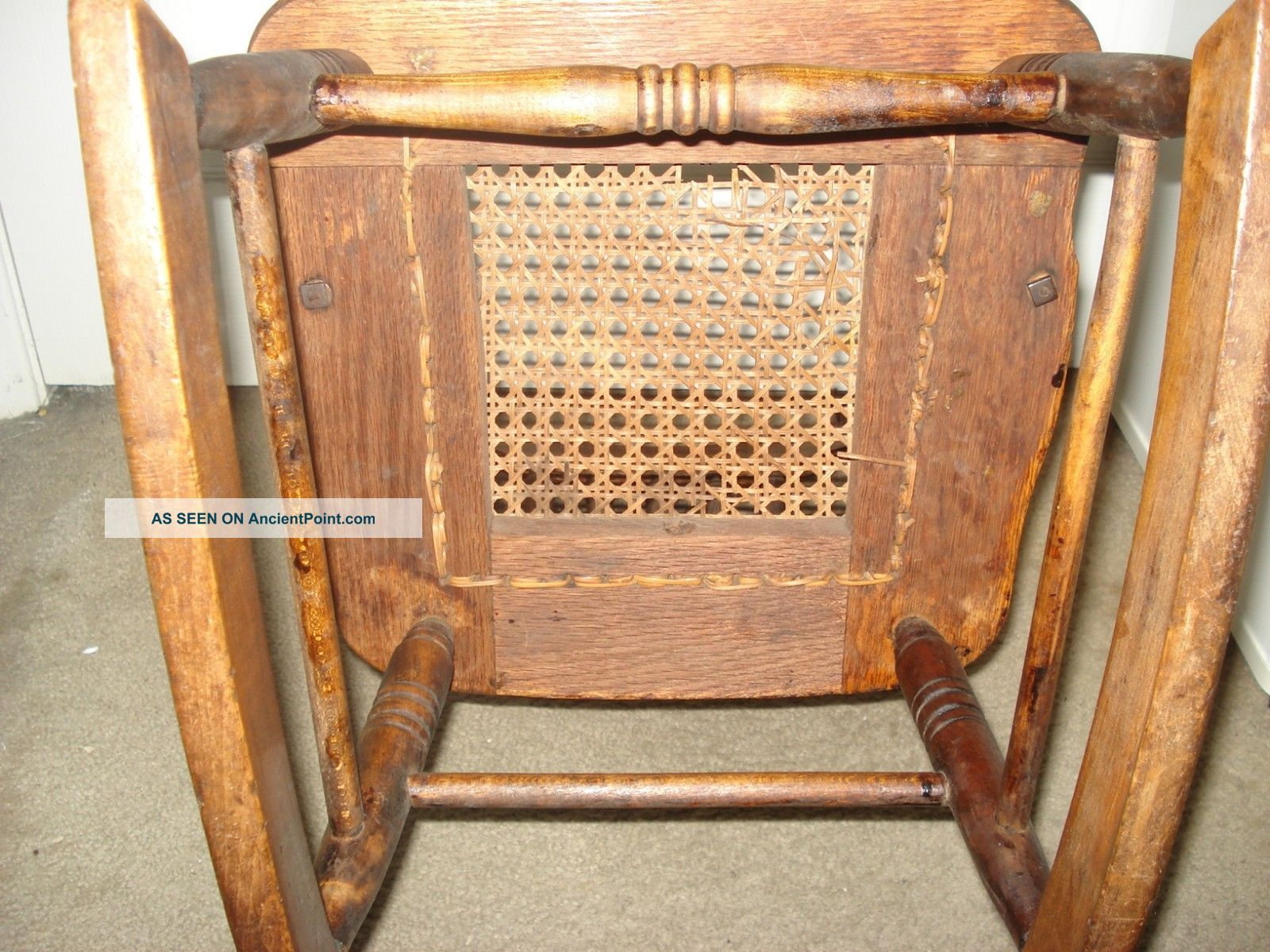 Antique Oak Rocking Chair (child Size) With Cane Seat Circa 1900 1900 . Full resolution  image, nominally Width 1600 Height 1200 pixels, image with #C1750A.