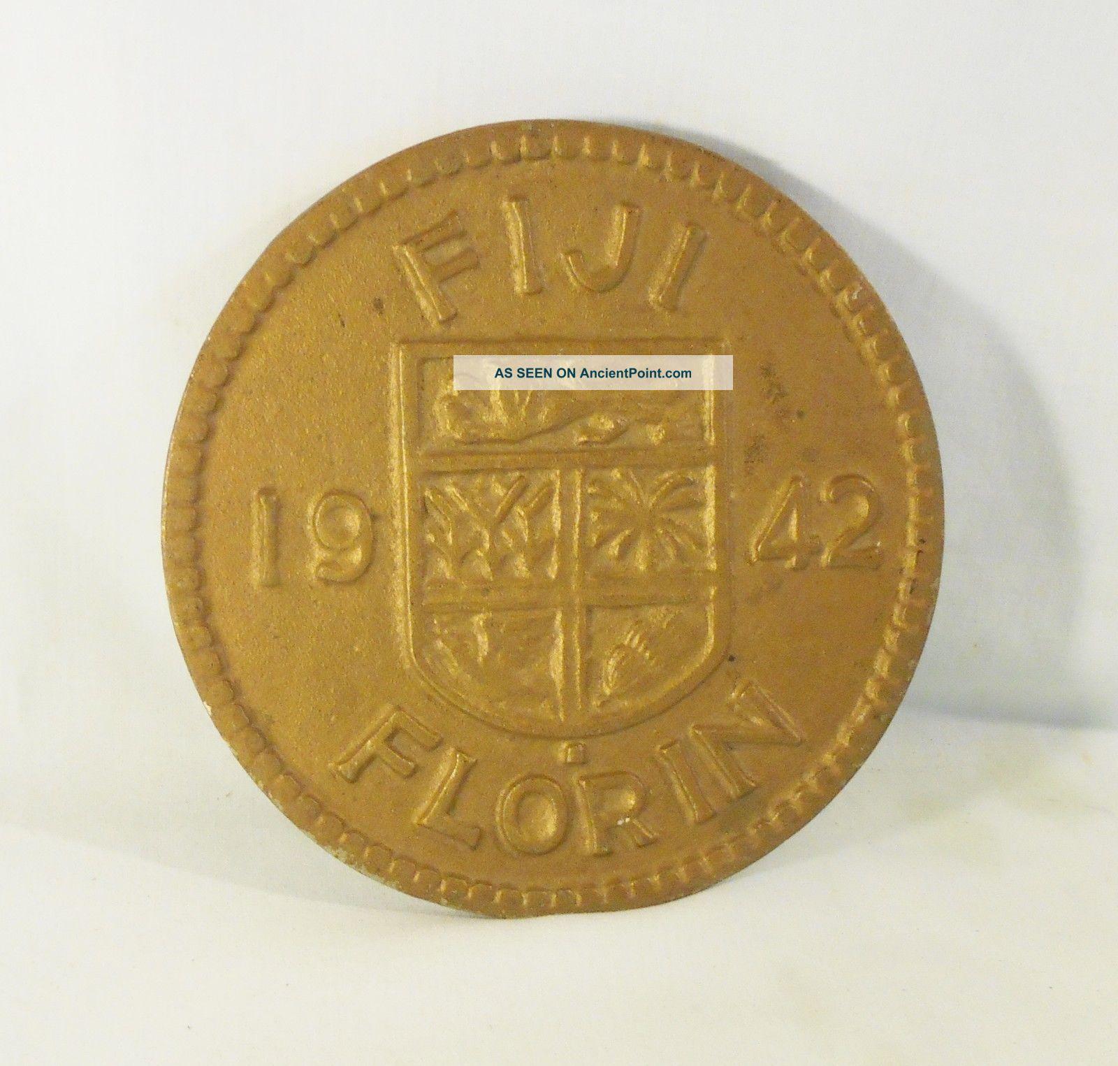 Old F I J I,  1942 Florin,  Cast Iron Trivet,  Japan Trivets photo
