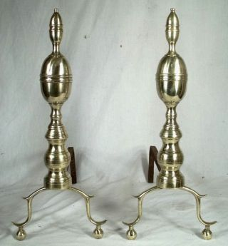 Pair Antique 19th Century Early American Double Lemon Top Brass Andirons photo