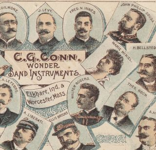 1890 ' S C.  G.  Conn Band Instruments Elkhart Worcester Sousa Gilmore Levy Ad Card photo