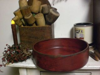 Primitive Colonial Red Wooden Dough Bowl Wood Bowl photo