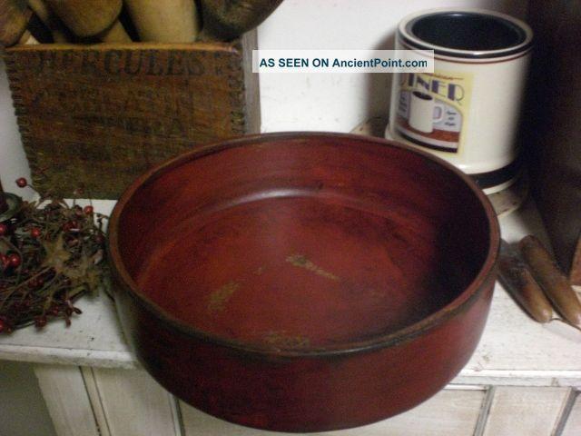 Primitive Colonial Red Wooden Dough Bowl Wood Bowl Primitives photo 1