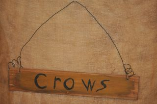 Primitive Handpainted Wooden Sign Crows Vintage Wood Slat Country Cabin Decor photo