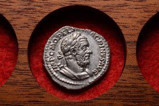Ancient Roman Silver Denarius Coin Of Emperor Macrinus - 218 Ad photo