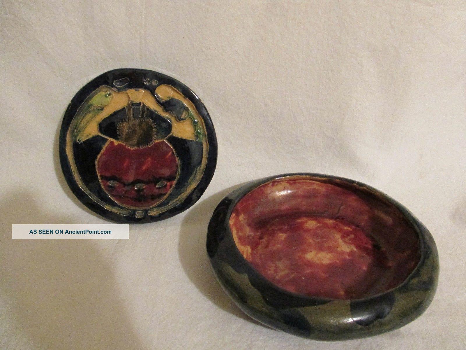 Antique Primitive 1924 Pottery Trivet Folk Art Bowl Stoneware Helen Hitchock Trivets photo