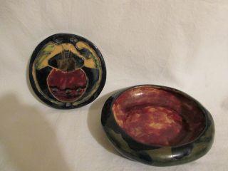 Antique Primitive 1924 Pottery Trivet Folk Art Bowl Stoneware Helen Hitchock photo