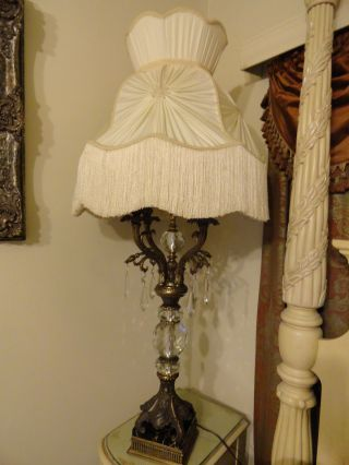 Antique Rare Chandelier Lamp 1 Of A Kind Crystals,  Marble Vintage Nr photo