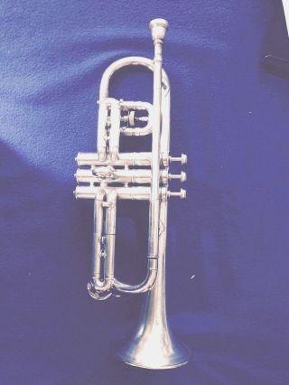Antique Silver Trumpet Conn Victor 1919 New Wonder Trumpet Cornet photo