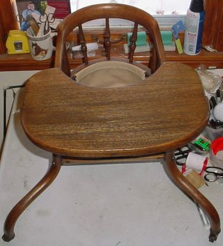 Antique Primitive Wood Walker Jumper Eating Chair For Baby - photo