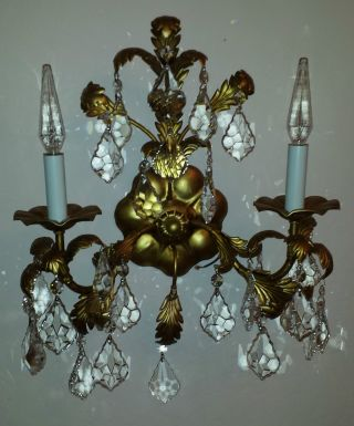 Vintage Tole Gold Italian Italy Chandelier Wall Light 25 Crystals Fixture 1950 ' S photo