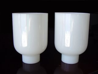 2 Antique White Art Deco Glass Chandelier Sconce Lamp Fixture Slip Shades Globes photo