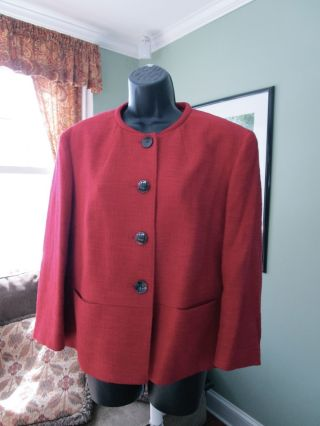 Red Talbots Blazer,  Classic Detailing,  Sz 16 photo