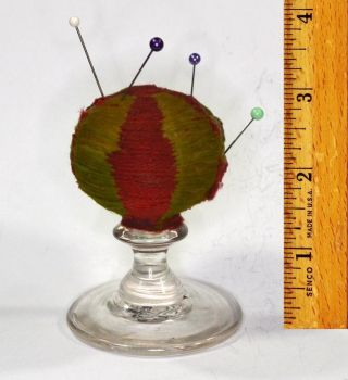 Sewing Pin Cushion Early Make Due Pedestal Glass Early Antique 1800 Primitive photo