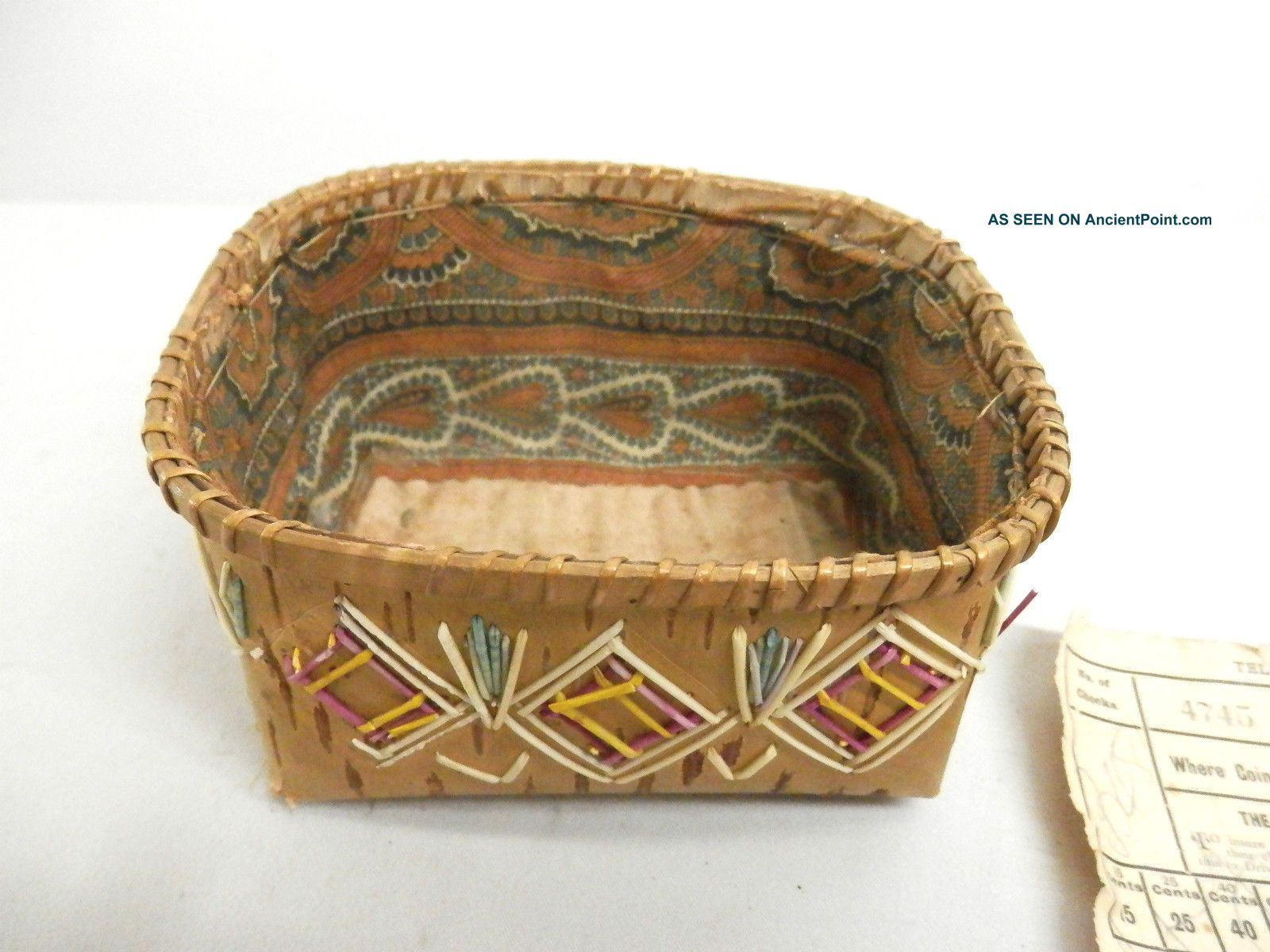 Antique Native North American Quill Basket 1895 Ca + Dated Train Ticket Ojibwa Native American photo