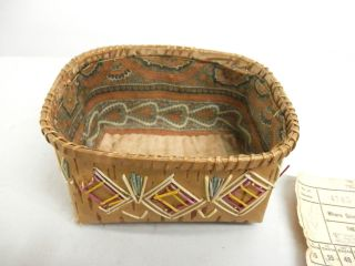 Antique Native North American Quill Basket 1895 Ca + Dated Train Ticket Ojibwa photo