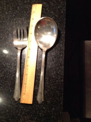 Charm Silverplate Holmes & Edwards Serving? Spoon And Fork 2 - 9