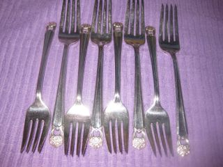8 Vintage 1847 Rogers Bros Eternally Yours Silverplate Dinner/salad Forks photo