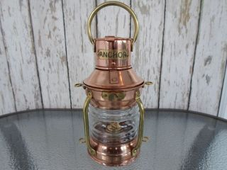 Brass & Copper Anchor Oil Lamp Nautical Maritime Ship Lantern photo