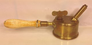 Antique Brass Ship Lantern Lighter Burner With Wood Handle Patented In 1890s photo