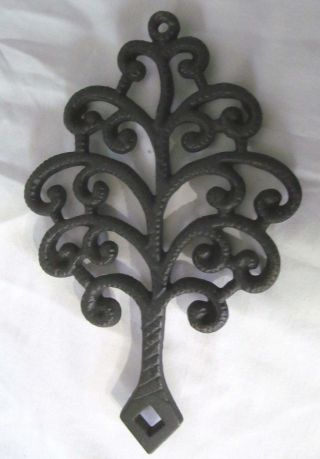 Vintage Cast Iron Trivet Family Tree Footed Hot Plate Signed Jzh Stamp 1951 13 photo