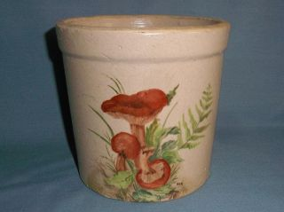 Old Crock With Mushrooms Painted On,  Signed Bonnie R.  Hickens ' 78 - 6 1/4