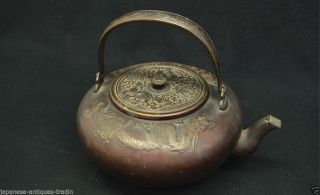 Japanese Antique Phoenix Crest Wabi Sabi Tea Kettle Tetsubin Chagama Cast Iron photo