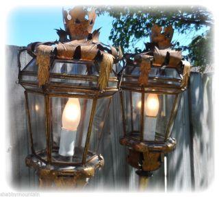 Old Tall Italian Tole Pair Sconce Lantern Venetian Lamps Torchere Rare 1940 ' S photo