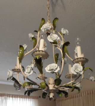 Vintage Shabby Italian Tole Cage Chandelier With Porcelain Roses photo