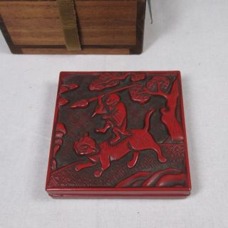 D966: Real Chinese Old Tsuishu Lacquer Ware Incense Case With Appropriate Work photo