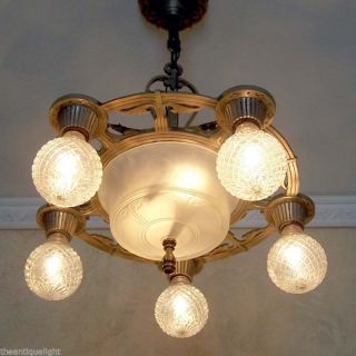 632 Vintage 20s 30 ' S Ceiling Light Lamp Fixture Chandelier Polychrome Re - Wired photo