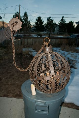 Antique Spherical Iron Chandelier photo
