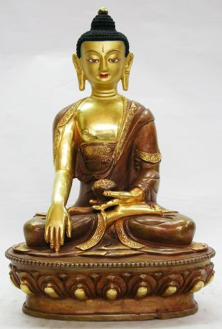 Mater Piece Buddha Statue Copper Alloy With 24 Karat Half Gold Gilded X photo