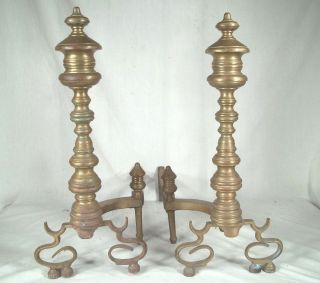 Pair Antique 19th Century Well Turned Brass Andirons photo
