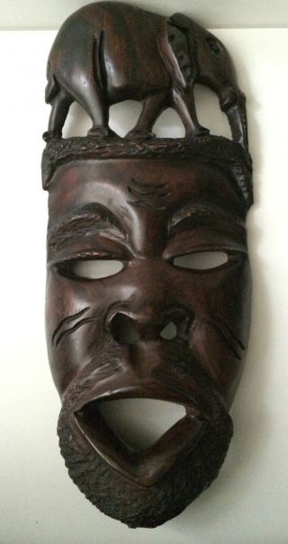Hand Carved Solid Wood African Mask Wall Hanging photo