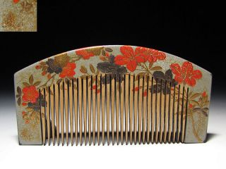 Edo Japanese Geisha Kushi Comb Kanzashi Lacquer Makie Hair Kinpaku Urushi Set 33 photo