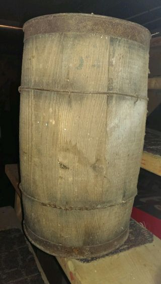 Primitive Vintage Usa Wood Metal Barrel Unbrella Stand Trash Can Rustic Old Keg photo