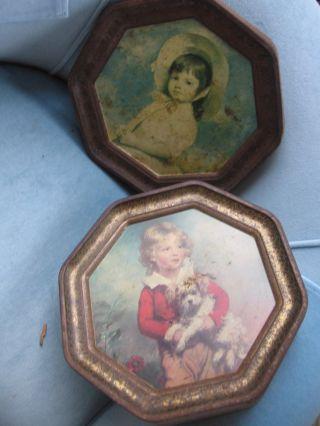 Antique Primitive Heavy Metal Biscuit Tin Classic Art Both Sides 12 - 1/4
