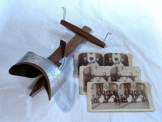 Antique Stereoscope Pat ' D 1901 U & U Sun + Underwood Family Stereoviews ??? photo