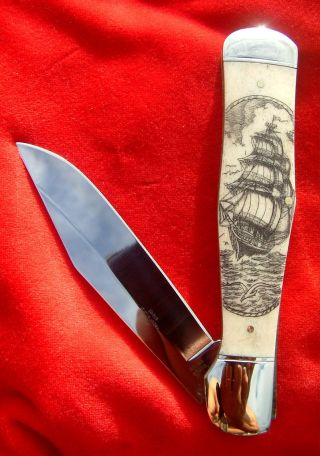 Double Sided Scrimshaw By Shar,  Ship,  Compass,  Ropes,  Large Folding Knife/knives photo