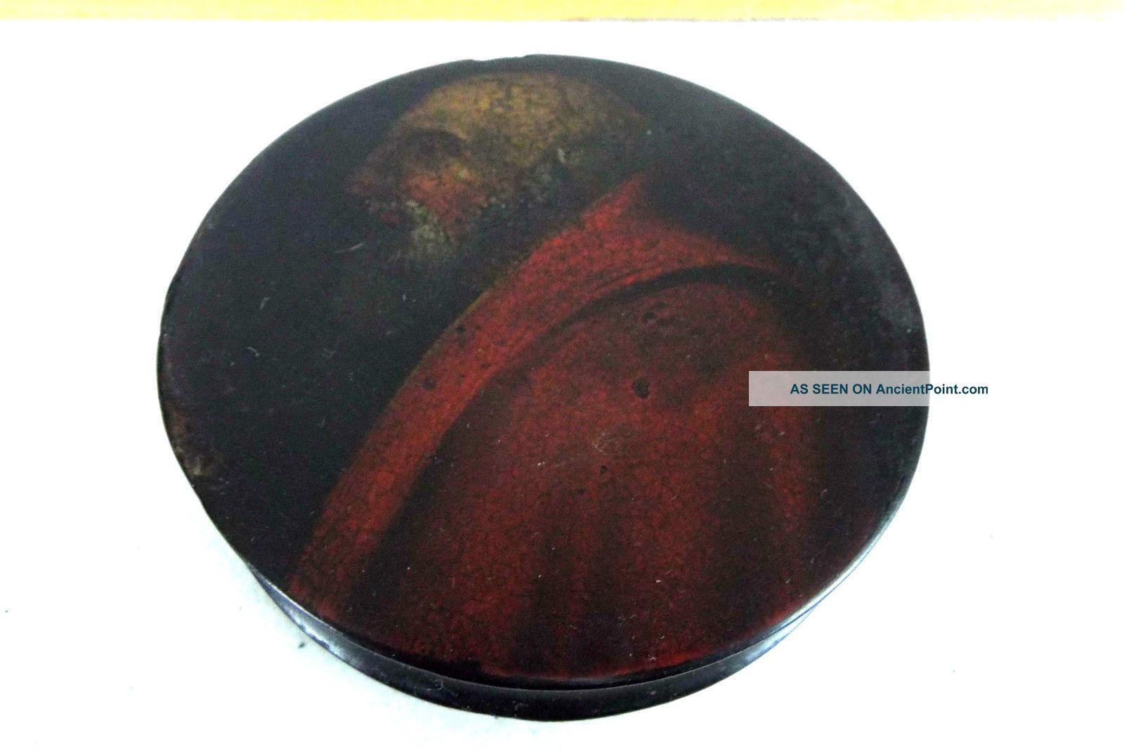 Antique Paper Mache Round Snuff Box Old World Portrait Circa 1820 Painting Trivets photo