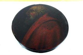 Antique Paper Mache Round Snuff Box Old World Portrait Circa 1820 Painting photo