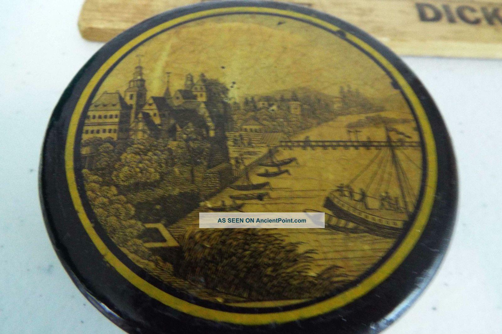 Antique Port Ship Snuff Box Coastal Europe Or The Americas Trivets photo