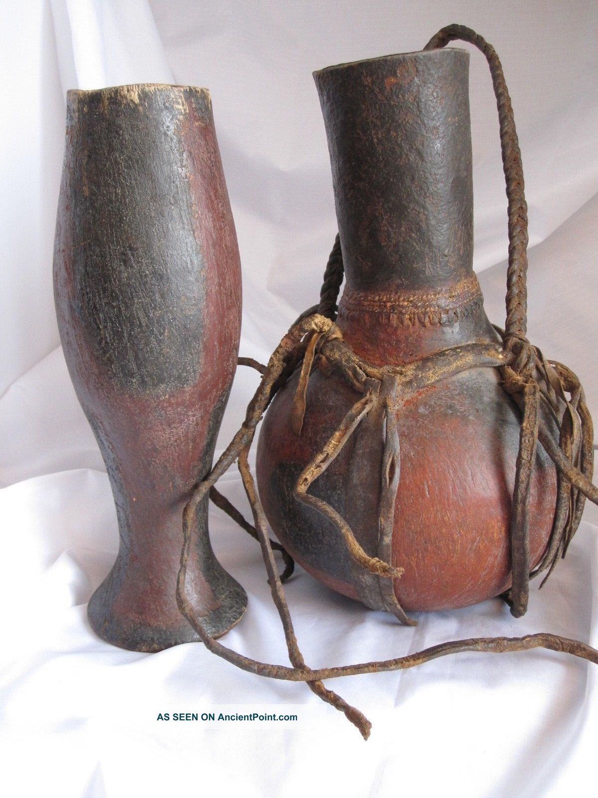 Vintage Hand Carved Wood Water Jug And Cup With Leather Straps Latin American photo