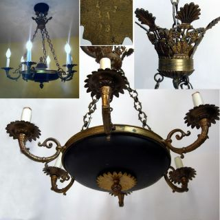 Vintage French Empire Bronze & Lacquer Six - Light Chandelier 1920 ' S - 30 ' S Marked photo