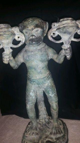 Antique African Brass Ceremonial Chimpanzee Warrior photo