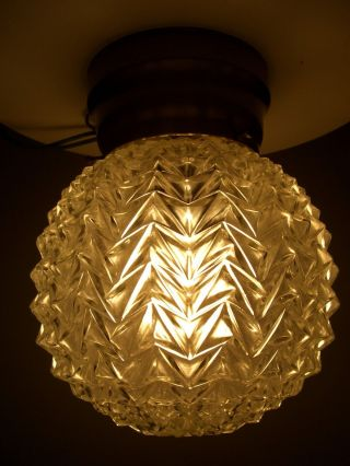 Vintage Clear Crystal Round Glass Globe Hollywood Regency Ceiling Light Fixture photo