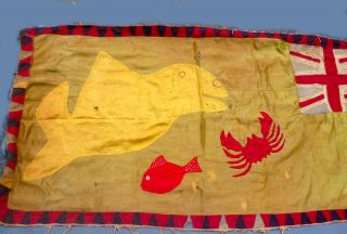 Antique African Asafo Flag Union Jack Textile Fish Scorpion Whale Ghana Ethnix photo