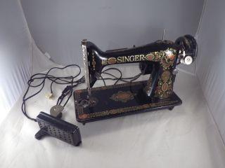Vintage Antique 1921 Singer 66 Red Eye Sewing Machine W/ Pedal Serial G9027289 photo