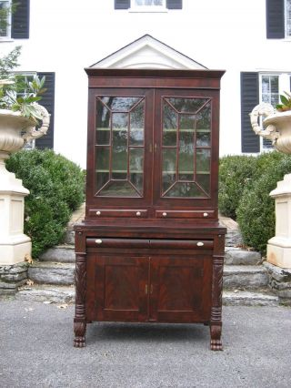 Flame Mahogany Empire Secretary With Hairy Paw Feet photo