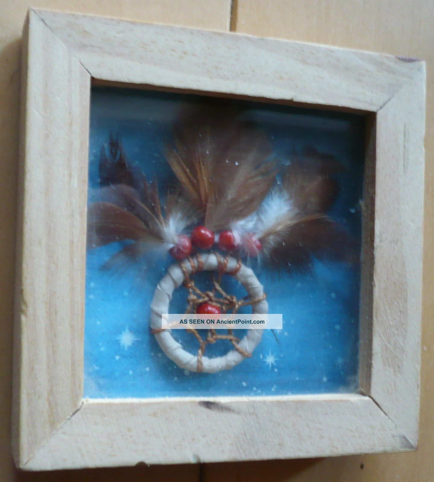 St.  Joseph ' S School,  Small Decorative Sd Feather Beads Beaded Framed Miniature Native American photo